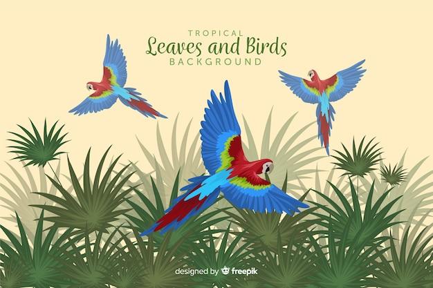 Tropische bladeren en vogels Gratis Vector