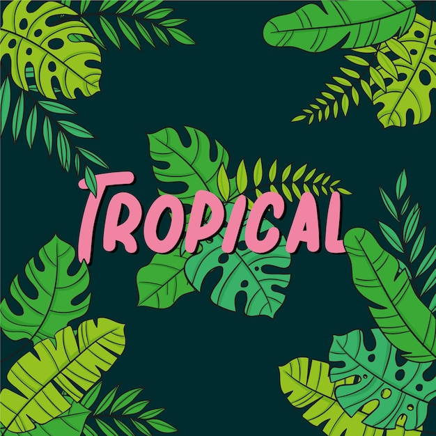 Tropische bladeren met belettering Gratis Vector