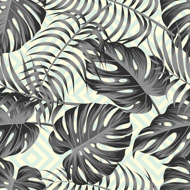 Tropische bladeren naadloze patroon ontwerp Premium Vector