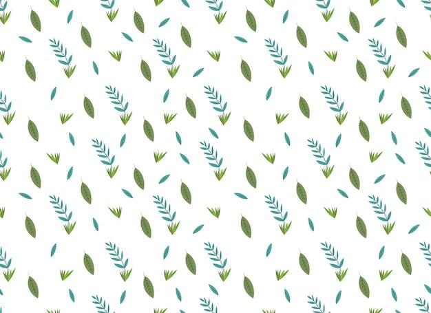 Tropische bladeren naadloze patroon op witte achtergrond. Premium Vector