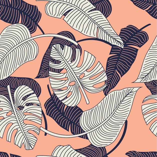 Tropische bladeren naadloze patroon Premium Vector