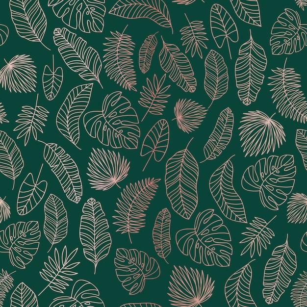 Tropische bladeren rose gouden lijnen naadloze patroon Premium Vector