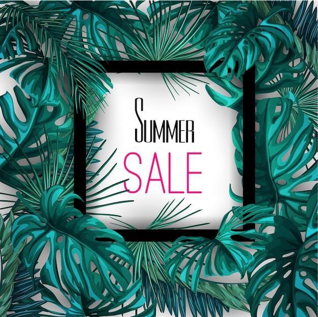 Tropische bladeren zomer verkoop banner poster achtergrond sjabloon. Premium Vector