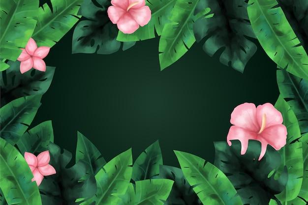 Tropische bloemen achtergrond voor zoom Gratis Vector