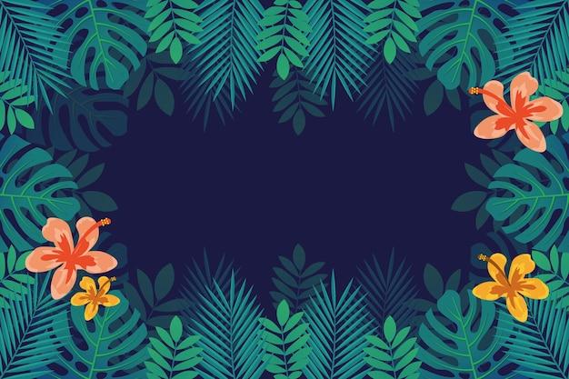 Tropische bloemen / bladeren - achtergrond voor zoom Gratis Vector