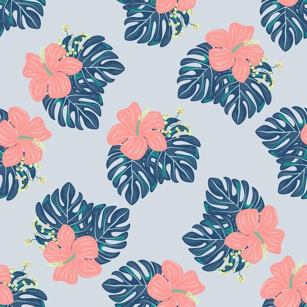 Tropische bloemen en bladeren van planten jungle vector naadloze patroon Premium Vector
