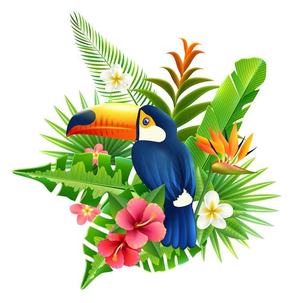 Tropische bloemen illustratie Gratis Vector