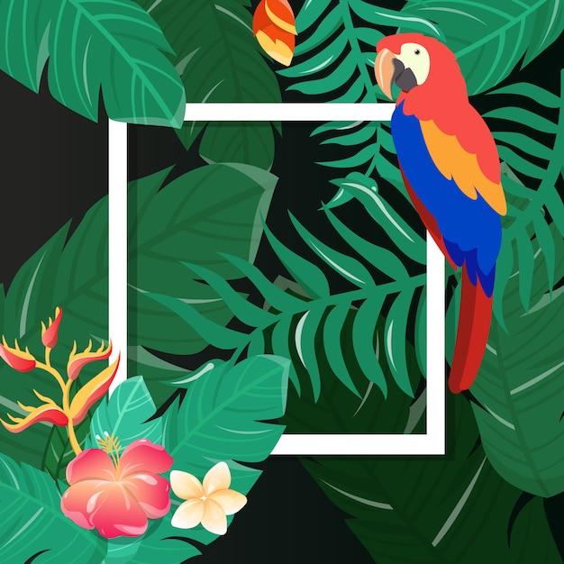 Tropische bloemen kaart Premium Vector