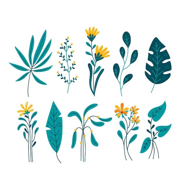Tropische bloemen met bladeren die op witte achtergrond worden geïsoleerd Premium Vector