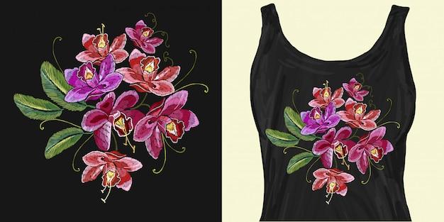 Tropische bloemen orchideeën. borduurwerk Premium Vector