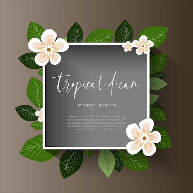 Tropische bloemenrand Premium Vector