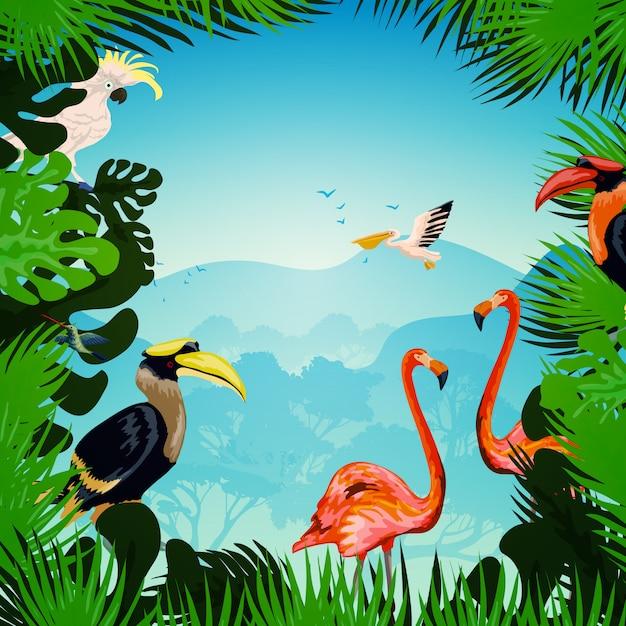 Tropische bos achtergrond Gratis Vector