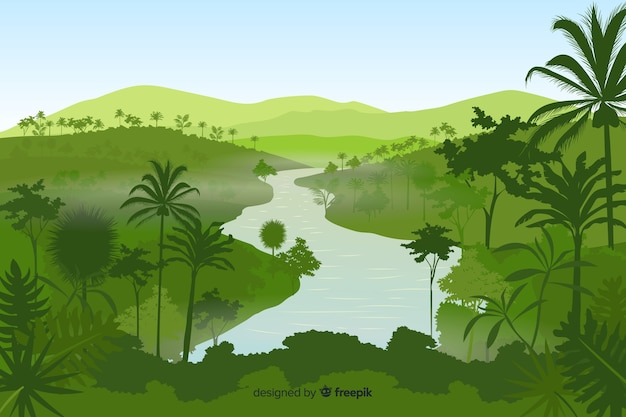 Tropische boslandschapsachtergrond Premium Vector