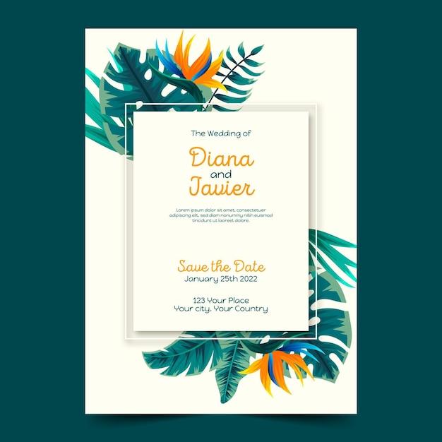 Tropische bruiloft uitnodiging sjabloon Gratis Vector