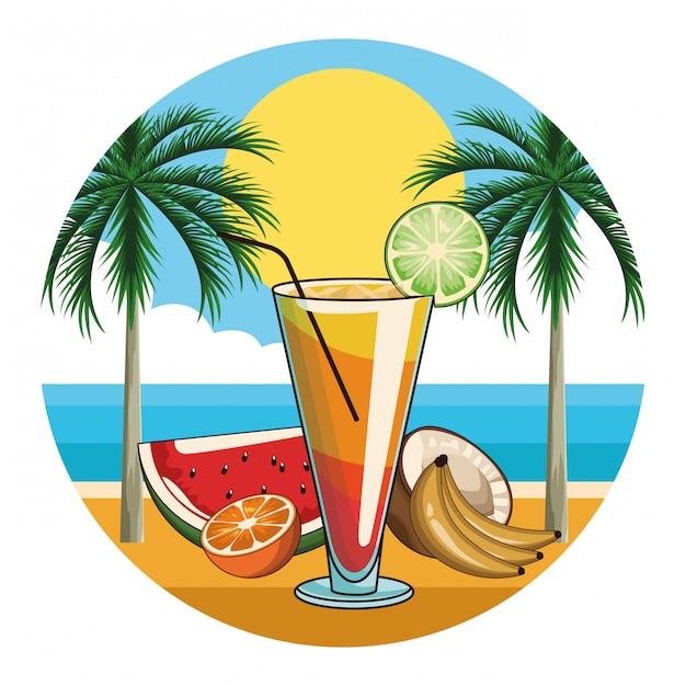 Tropische cocktail drinken pictogram Premium Vector