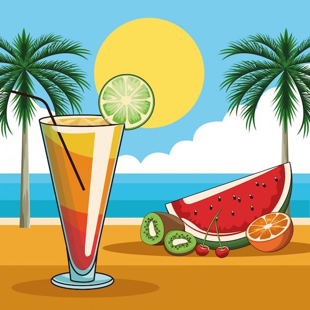 Tropische cocktail drinken Premium Vector