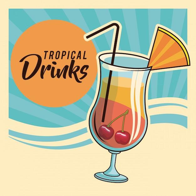 Tropische cocktail poster Premium Vector