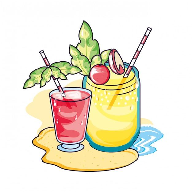 Tropische cocktaildrank met sapvruchten Premium Vector