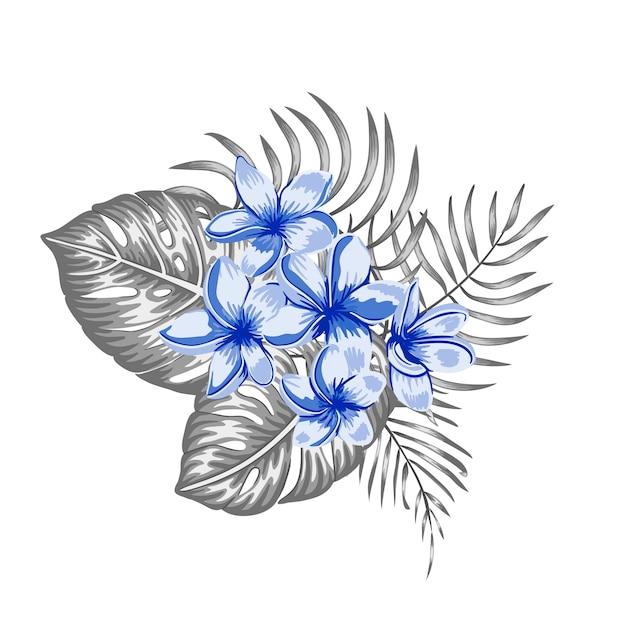 Tropische compositie van blauwe plumeria bloemen en grijze monstera en palmbladeren geïsoleerd. realistische aquarel stijl exotische designelementen. Premium Vector