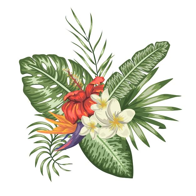 Tropische compositie van rode hibiscus, witte plumeria, monstera en palmbladeren geïsoleerd. heldere realistische aquarel stijl exotische designelementen. Premium Vector