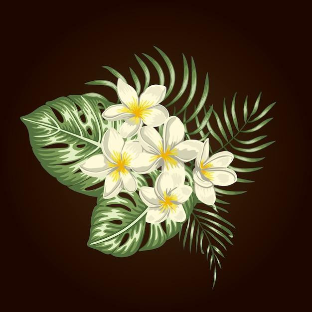 Tropische compositie van witte plumeria bloemen, monstera en palmbladeren geïsoleerd. heldere realistische aquarel stijl exotische designelementen. Premium Vector