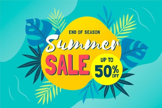 Tropische einde van de zomer verkoop achtergrond Gratis Vector