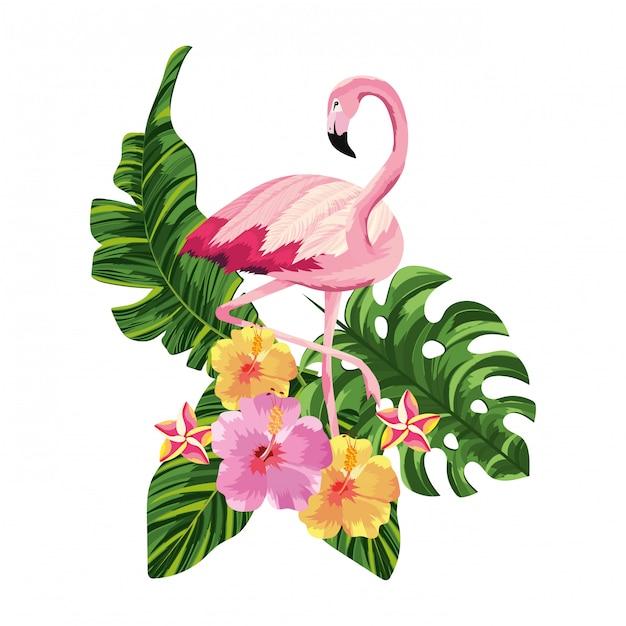 Tropische flamingo cartoon Premium Vector