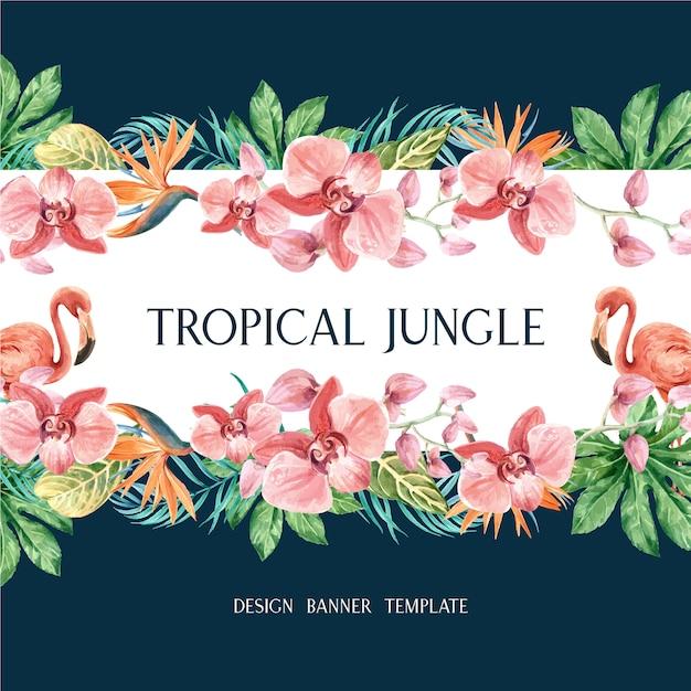 Tropische frame grens zomer met planten gebladerte exotische, creatieve aquarel Gratis Vector