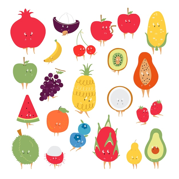Tropische fruit stripfiguren vector set Gratis Vector