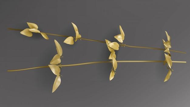 Tropische gouden bladeren, het takje van liana op donkere zwarte vector als achtergrond. Gratis Vector
