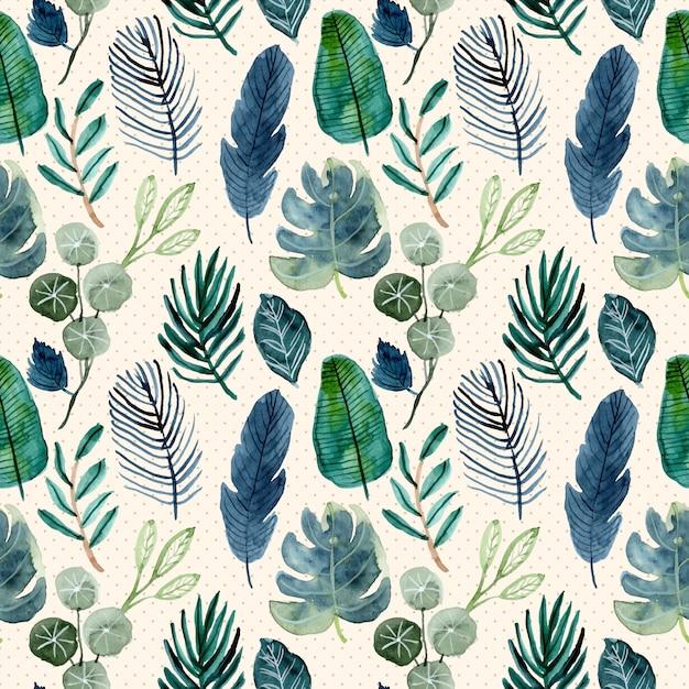 Tropische groene bladeren aquarel naadloze patroon Premium Vector