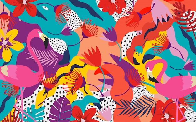Tropische jungle bladeren met flamingo's Premium Vector