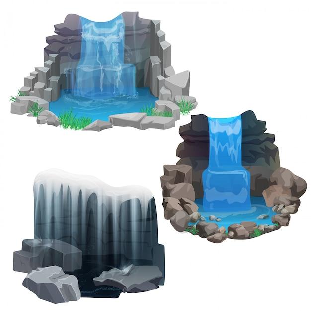 Tropische jungle waterval set Premium Vector
