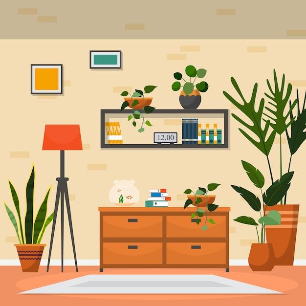 Tropische kamerplant groene decoratieve plant interieur huis illustratie Premium Vector