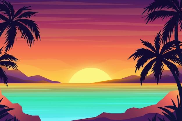 Tropische landschapsachtergrond voor zoom Gratis Vector