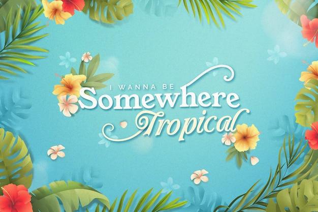Tropische letters met bladeren en bloemen Gratis Vector