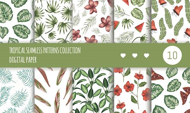 Tropische naadloze patronen collectie. zomer of lente herhaal tropische achtergronden instellen. trendy exotische jungle ornamenten. Premium Vector