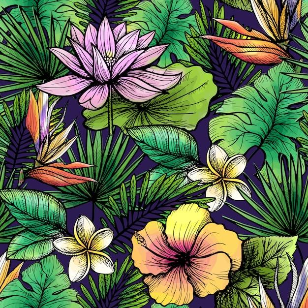 Tropische naadloze patroon Gratis Vector