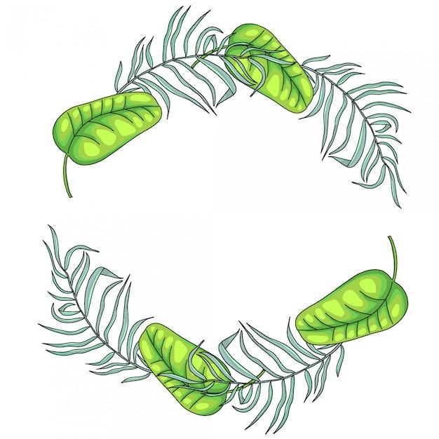 Tropische palm verlaat framerand, krans Premium Vector