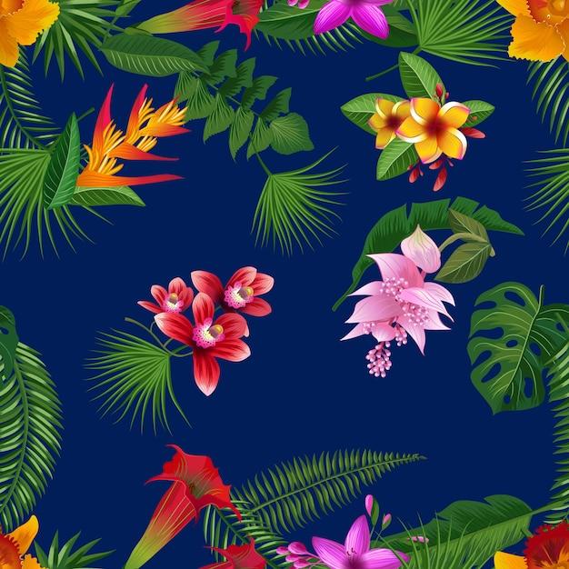 Tropische palmbladen en exotische bloemelementen met donkerblauwe achtergrond Premium Vector