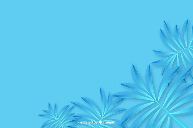 Tropische papieren palmbladen frame in blauw Gratis Vector