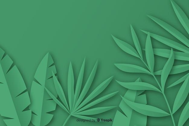 Tropische papieren palmbladen frame in het groen Gratis Vector