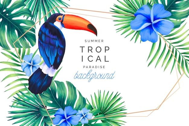Tropische paradijs achtergrond met gouden frame Gratis Vector
