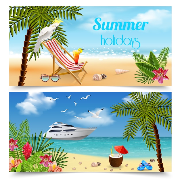 Tropische paradijs banners collectie met afbeeldingen van zomervakantie ontspanning aan zee met strandlandschappen Gratis Vector