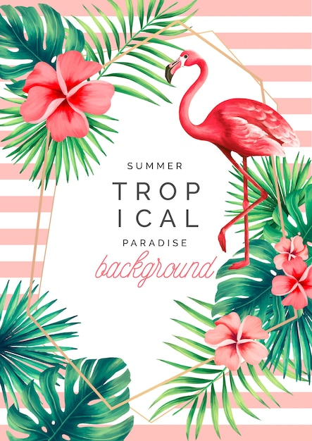 Tropische paradijsachtergrond met exotische aard en flamingo Gratis Vector