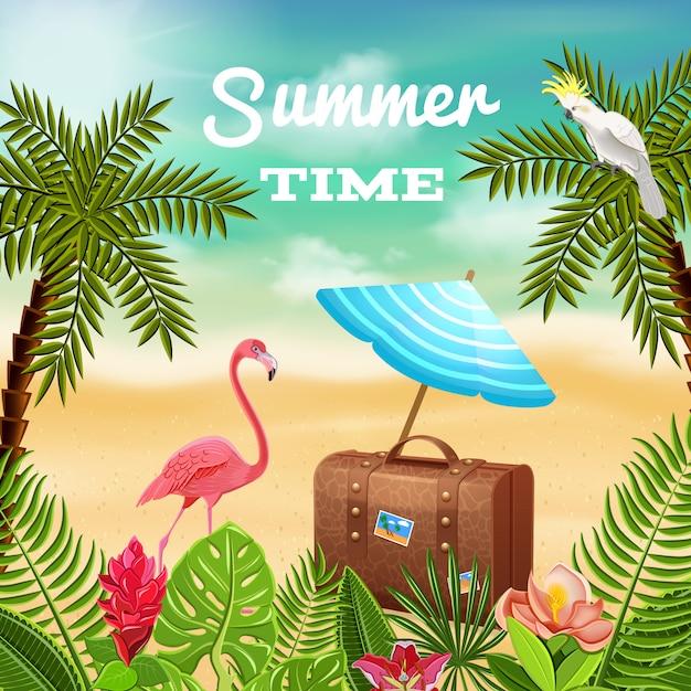 Tropische paradijssamenstelling als achtergrond met reisgeval en zonnescherm op strandlandschap met palmen en flamingo Gratis Vector