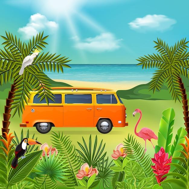 Tropische paradijssamenstelling met marien natuurlandschap en kleurrijke planten met hippie minibusje en bloemen Gratis Vector
