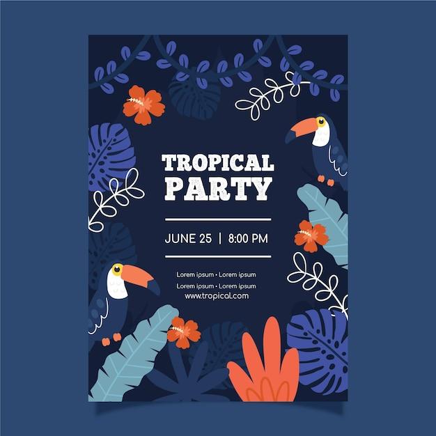 Tropische partij poster sjabloon Gratis Vector