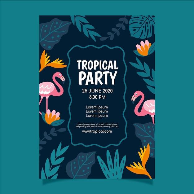 Tropische partij poster Gratis Vector