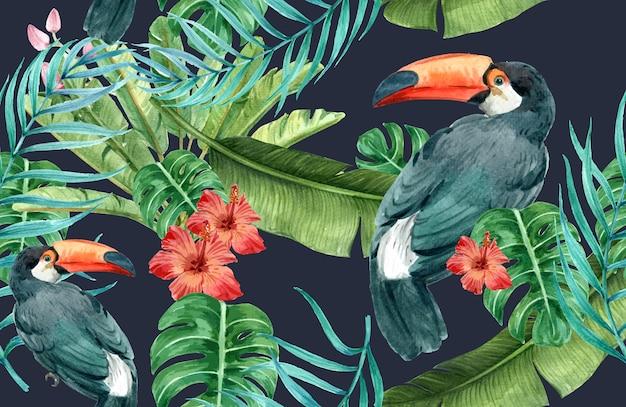 Tropische patroon bloem aquarel, bedankt kaart, textieldruk illustratie Gratis Vector